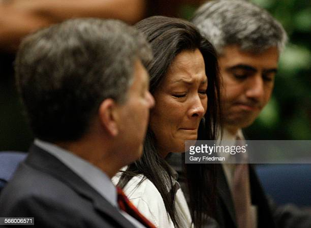 Kelly Soo Park reacts after being found not guilty in the second count at Criminal Courts in downtown Los Angeles on June 4 2013 At left is George...