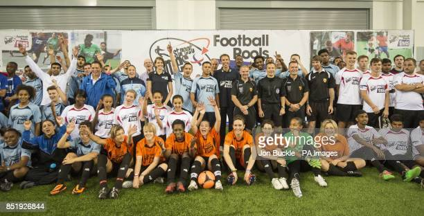 Kelly Sotherton Gareth Southgate Keith Stroud Kim Turner and DJ Spoony with competitors during the StreetGames Football Pools Fives at St George's...