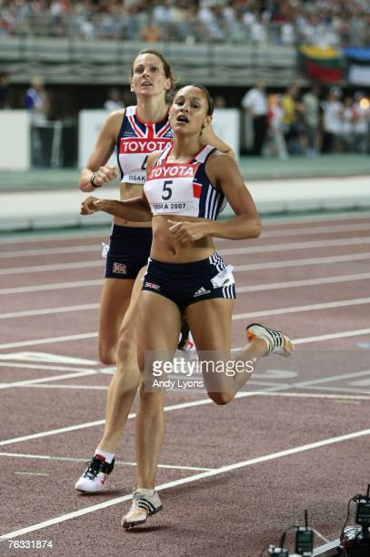 Kelly Sotherton of Great Britain and Jessica Ennis of Great Britain race to the finish together in the 800m event during the Women's Heptathlon on...