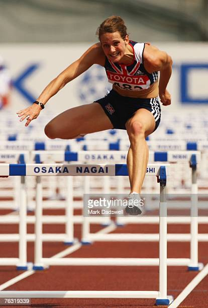 Kelly Sotherton of Great Britain competes in the 100m Hurdles during the Women's Heptathlon on day one of the 11th IAAF World Athletics Championships...