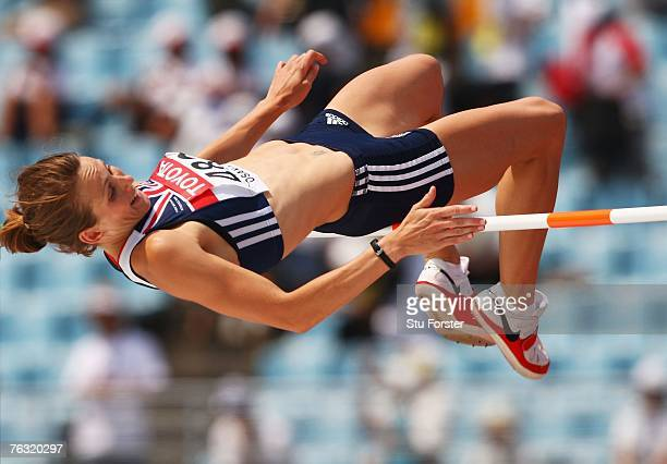 Kelly Sotherton of Great Britain competes in the High Jump during the Women's Heptathlon on day one of the 11th IAAF World Athletics Championships on...