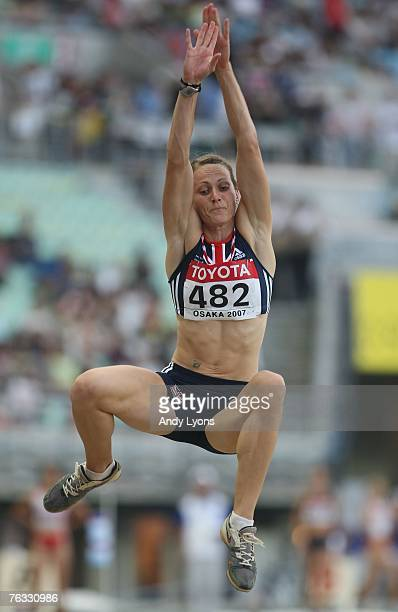 Kelly Sotherton of Great Britain competes in the Long Jump during the Women's Heptathlon on day two of the 11th IAAF World Athletics Championships on...