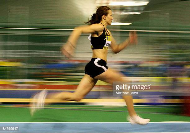 Kelly Sotherton of Great Britain in action during the Women's Long Jump Final during the first day of the AVIVA World Trials and UK Championships at...