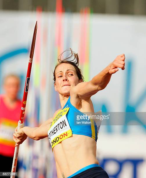Kelly Sotherton of Great Britain NI in action during Womens Javelin at the Norwich Union Grand Prix meeting at Crystal Palace Athletics Stadium on...