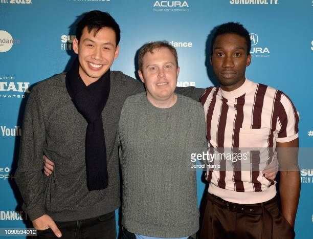 Kelly Sry Lucas Heyne and Nathan StewartJarrett attend the 'Mope' Premiere during the 2019 Sundance FIlm Festival at Egyptian Theatre on January 27...