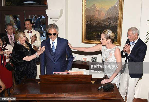 Kelly Stone Gilles Marini Actress Sharon Stone and Maxwell Drever applaud Andrea Bocelli after his private performance at the 5th Annual Hotbed Gala...