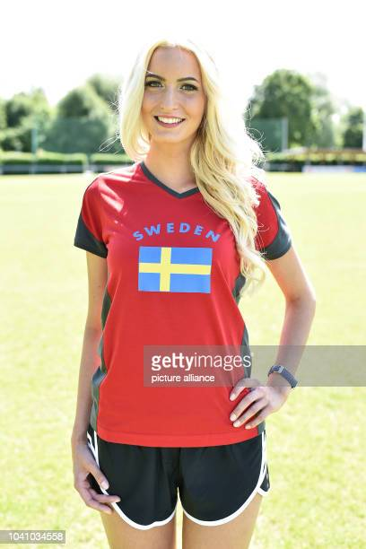 Kelly Sucio stands on a sports pitch ahead of the meeting of the 'Miss EM 2016' selection on 03 June in Europa Park in Rust Germany 01 June 2016 24...