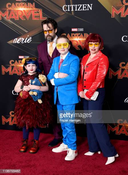 Kelly Sue DeConnick with Matt Fraction and family attend the Marvel Studios Captain Marvel premiere on March 04 2019 in Hollywood California