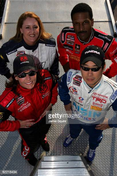 Kelly Sutton Bill Lester Shigeaki Hattori and Deborah Renshaw pose for a photo prior to the NASCAR Craftsman Truck Series Florida Dodge Dealers 250...