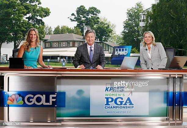 Kelly Tilghman Brandel Chamblee and Karen Stupples pose together on the Golf Channel set during the first round of the KPMG Women's PGA Championship...