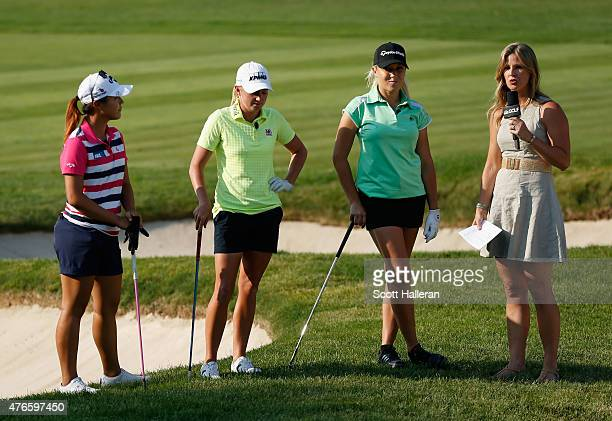 Kelly Tilghman of Golf Channel chats with Lydia Ko of New Zealand Stacy Lewis and Natalie Gulbis during the LPGA Player Showcase prior to the start...