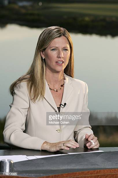 Kelly Tilghman of The Golf Channel broadcasting during the first round of the Merrill Lynch Shootout at the Tiburon Golf Club in Naples Florida on...