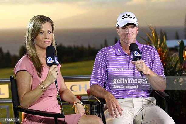 Kelly Tilghman of The Golf Channel interviews Steve Stricker following the third round of the Hyundai Tournament of Champions at the Plantation...