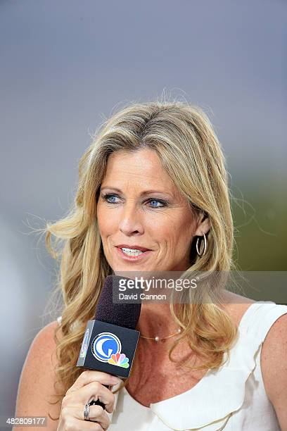 Kelly Tilghman of the Golf Channel working during the second round of the 2014 Kraft Nabisco Championship on the Dinah Shore Tournament Course at...