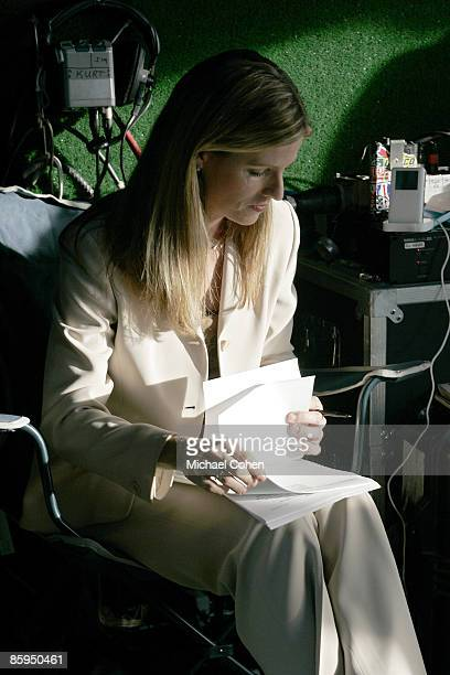 Kelly Tilghman prepares for her Golf Channel broadcast during the first round of the Merrill Lynch Shootout at the Tiburon Golf Club in Naples...