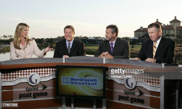 Kelly Tilghman with Mark Lye Frank Nobilo and Peter Oosterhuis of The Golf Channel during the first round of the Merrill Lynch Shootout at the...