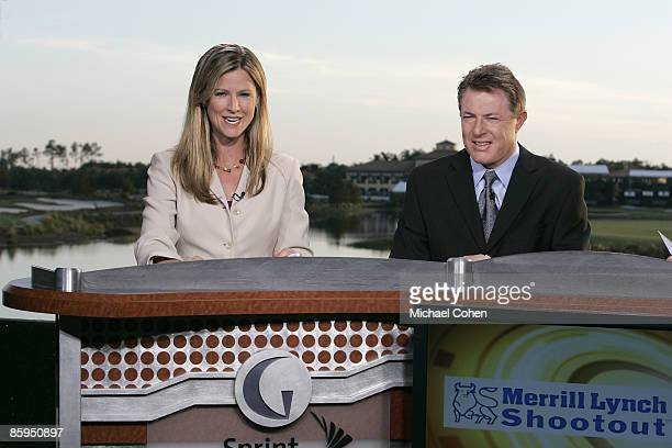 Kelly Tilghman with Mark Lye of The Golf Channel during the first round of the Merrill Lynch Shootout at the Tiburon Golf Club in Naples Florida on...