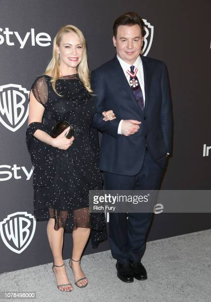 Kelly Tisdale and Mike Myers attend the InStyle And Warner Bros Golden Globes After Party 2019 at The Beverly Hilton Hotel on January 6 2019 in...