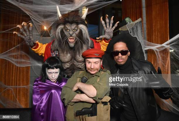 Kelly Tisdale Heidi Klum Mike Myers and Nick Cannon attend Heidi Klum's 18th Annual Halloween Party presented by Party City and SVEDKA Vodka at Magic...