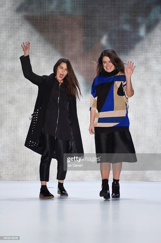 Kelly Townsend and Lea Carreno attend their Paper London presented by Mercedes-Benz and Elle show during the Mercedes-Benz Fashion Week Berlin Autumn/Winter 2015/16 at Brandenburg Gate on January 21, 2015 in Berlin, Germany.