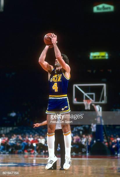 Kelly Tripucka of the Utah Jazz shoots against the Washington Bullets during an NBA basketball game circa 1987 at the Capital Centre in Landover...