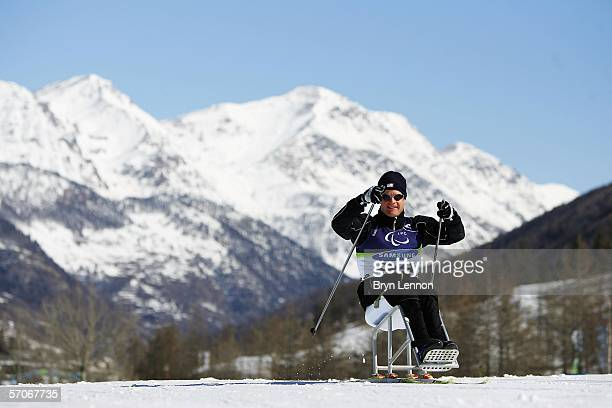 Kelly Underkofler of the USA in action during Biathalon training on day three of the Turin 2006 Winter Paralympic Games on March 13, 2006 in...