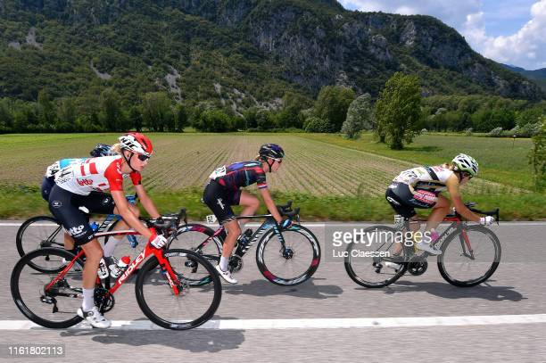 Kelly Van Den Steen of Belgium and Team Lotto Soudal Ladies / Malgorzta Jasinska of Poland and Movistar Team Women / Hannah Barnes of United Kingdom...