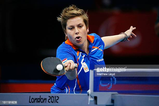 Kelly Van Zon of Netherlands competes against Yulia Ovsyannikova of Russia in the Women's Singles Table Tennis - Class 7 on day 5 of the London 2012...