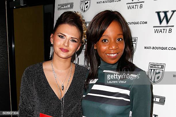 Kelly Vedovelli and Actress Priscilla Adade attend the Launch of Kelly Vedoveli's blog at Bridge Club on January 7 2016 in Paris France