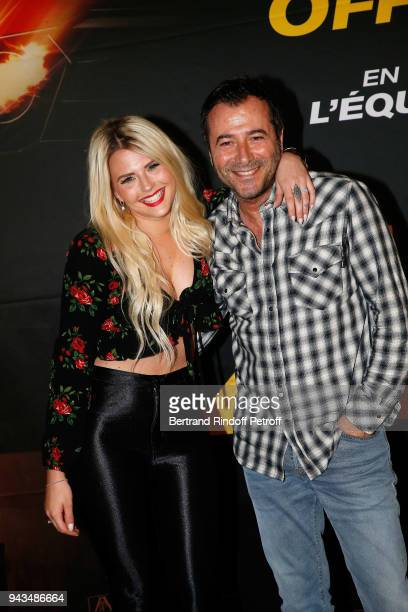 """Kelly Vedovelli and Bernard Montiel attend """"Taxi 5"""" Paris Premierere at Le Grand Rex on April 8, 2018 in Paris, France."""