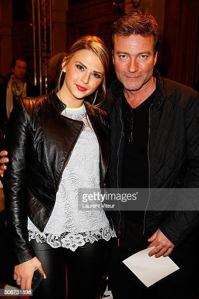Kelly Vedovelli and Director Dominic Bachy attend the Dany Atrache Spring Summer 2016 show as part of Paris Fashion Week on January 25, 2016 in...