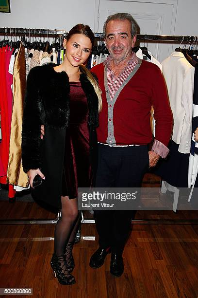 Kelly Vedovelli and Felix Farrington attend the 'Maison Farrington' Cocktail Party on December 10 2015 in Paris France