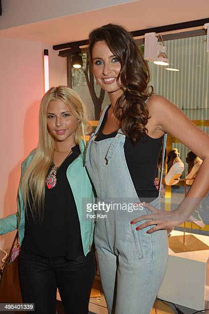 Kelly Vedovelli and Miss France 2010 Malika Menard attend the Marion Bartoli By Musette Launches 'Premier Envol' Collection at Musette Paris on June...