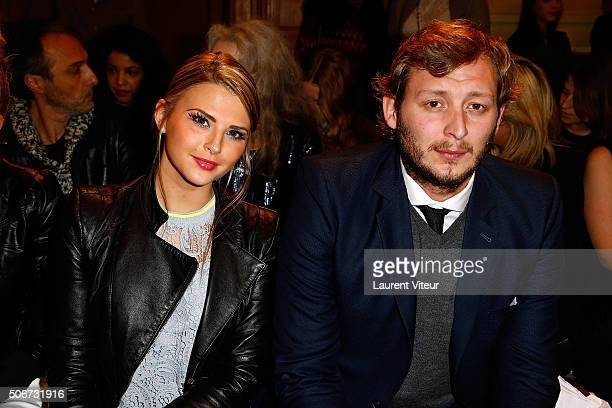 Kelly Vedovelli and Swimmer Amaury Leveaux attend the Dany Atrache Spring Summer 2016 show as part of Paris Fashion Week on January 25, 2016 in...