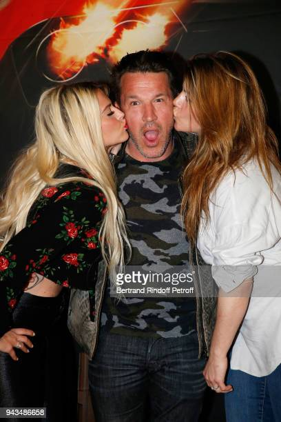 Kelly Vedovelli Benjamin Castaldi and his wife Aurore Aleman attend Taxi 5 Paris Premierere at Le Grand Rex on April 8 2018 in Paris France