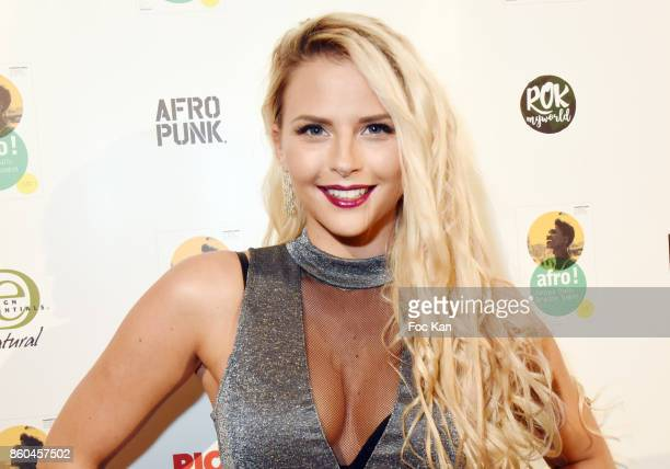 """Kelly Vedovelli from TPMP attends """"Afro"""" Rokhaya Diallo and photographer Brigitte Sombie Exhibition at Maison des Metallos on October 11, 2017 in..."""