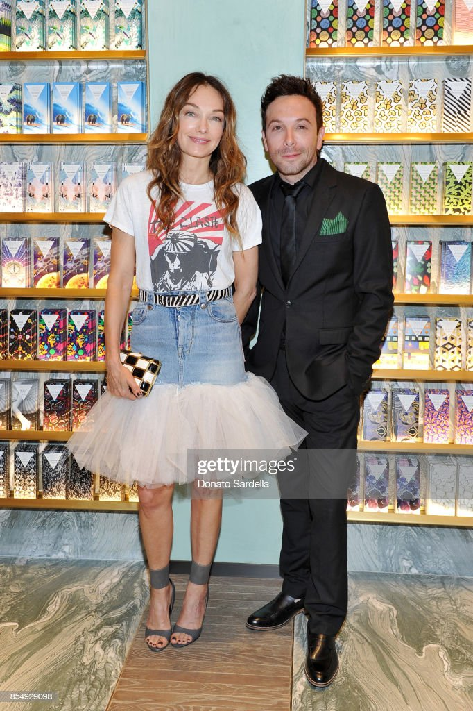 Kelly Wearstler (L) and Jonathan Grahm celebrate the Compartes Chocolatier Century City Flagship Store Opening on September 27, 2017 in Los Angeles, California.