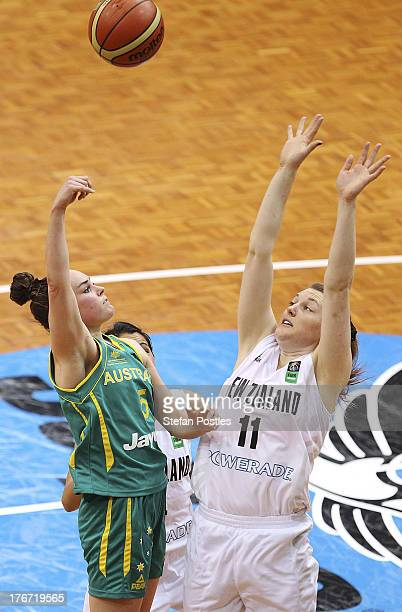 Kelly Wilson of the Opals shoots during the Women's FIBA Oceania Championship match between the Australian Opals and the New Zealand Tall Ferns at...