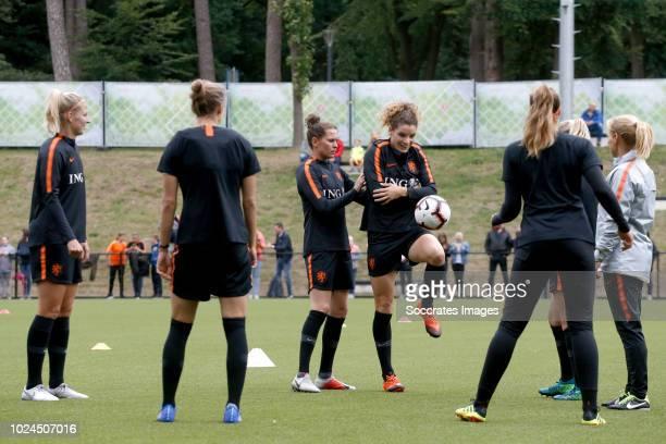 Kelly Zeeman of Holland Women Merel van Dongen of Holland Women Dominique Bloodworth of Holland Women during the Training Holland Women at the KNVB...