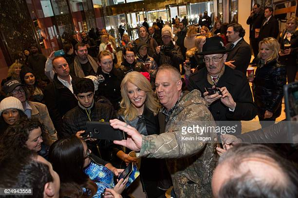 Kellyanne Conway, a senior advisor to President-Elect Donald Trump poses for selfies at Trump Tower on November 21, 2016 in New York City....