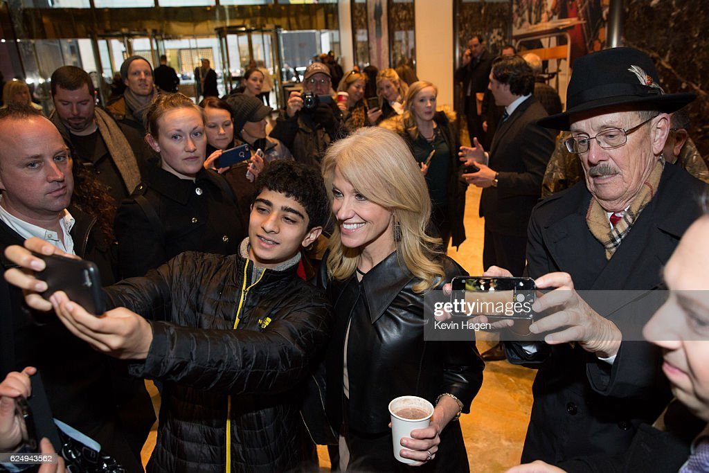 Kellyanne Conway, a senior advisor to President-Elect Donald Trump poses for selfies at Trump Tower on November 21, 2016 in New York City. President-elect Donald Trump and his transition team are in the process of filling cabinet and other high level positions for the new administration.