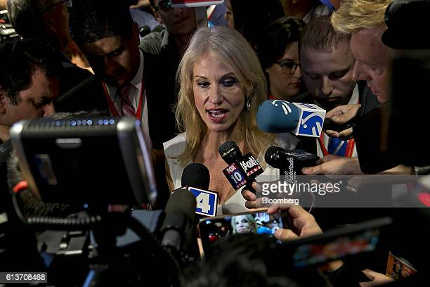 Kellyanne Conway campaign manager for 2016 Republican Presidential Nominee Donald Trump speaks to members of the media in the spin room after the...