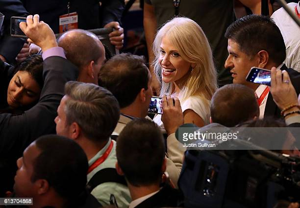 Kellyanne Conway campaign manager for the Donald Trump campaign walks through the spin room following the second presidential debate with democratic...