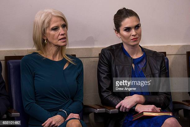 Kellyanne Conway counselor to President Donald Trump and Hope Hicks White House Director of Strategic Communications look on as White House Press...
