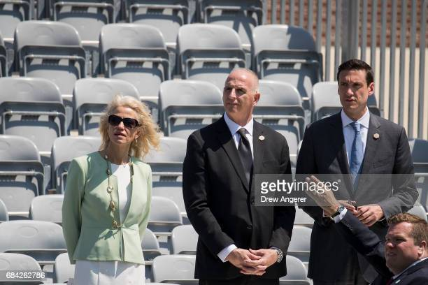 Kellyanne Conway counselor to President Donald Trump and Keith Schiller President Trump's longtime bodyguard arrive at the commencement ceremony for...