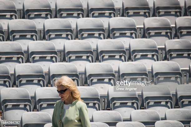 Kellyanne Conway counselor to President Donald Trump arrives at the commencement ceremony for the US Coast Guard Academy May 17 2017 in New London...