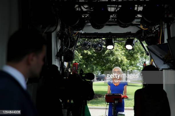 Kellyanne Conway, counselor to President Donald Trump, is interviewed by FOX outside the White House West Wing July 07, 2020 in Washington, DC. In...