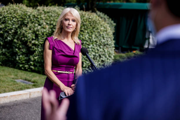 DC: Kellyanne Conway Speaks To Reporters Outside The White House