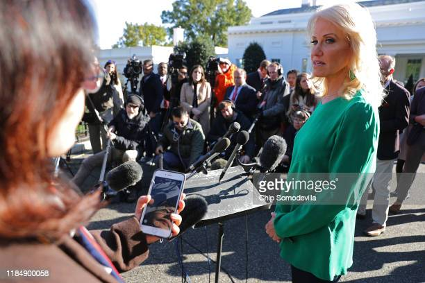 Kellyanne Conway, counselor to President Donald Trump, talks to reporters on the driveway outside of the White House November 01, 2019 in Washington,...