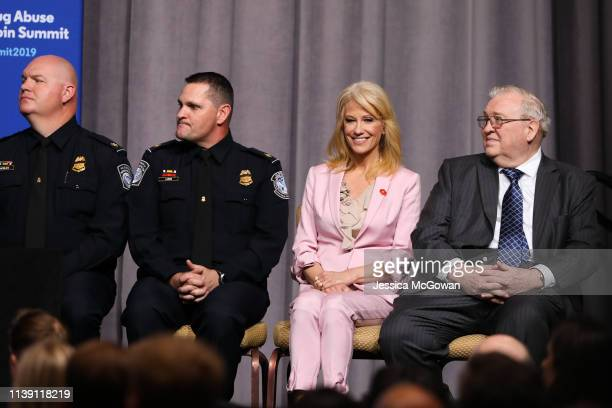 Kellyanne Conway Counselor to the President listens to President Donald Trump speak at the Rx Drug Abuse Heroin Summit on April 24 2019 in Atlanta...